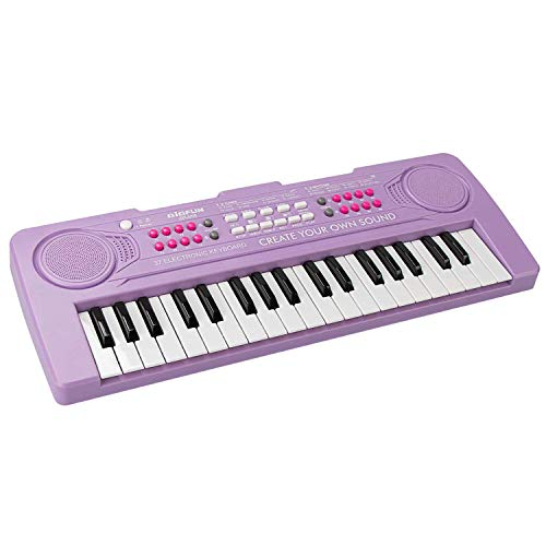 aPerfectLife Kids Keyboard Piano, 37 Keys Multifunction Portable Piano Electronic Keyboard Music Instrument for Kids Early Learning Educational Toy (Purple)