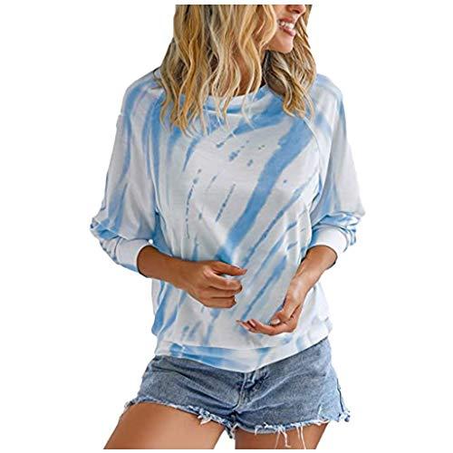 Best Price Toimothcn Womens Pullover Tops Tie-Dye Crewneck Long Sleeve Pullover Sweatshirts Shirts T...