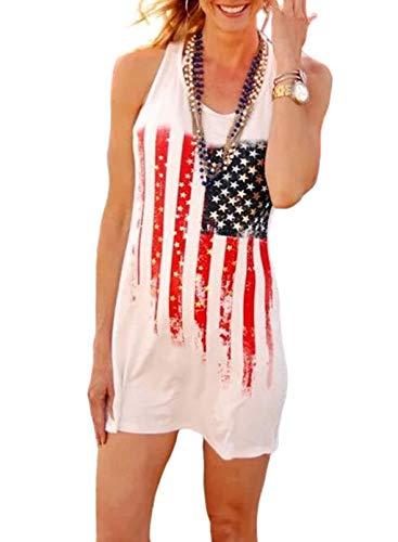 CORAFRITZ Vestido de mujer con estampado de estrellas y estrellas con estampado de bandera americana para mujer