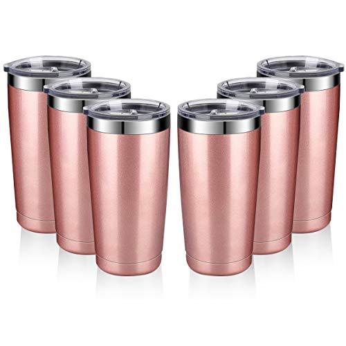 Amtidy - Bicchiere da viaggio con coperchio a prova di schizzi, in acciaio INOX, con isolamento sottovuoto, tazza termica a doppia parete, resistente, verniciata a polvere 6 Pack Oro rosato