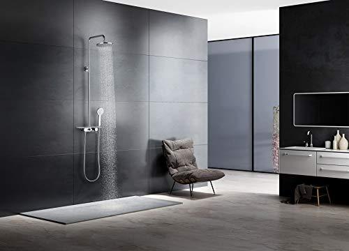 Conjunto de ducha con grifo monomando,barra acero inoxidable y rociador con 5 años de garantía