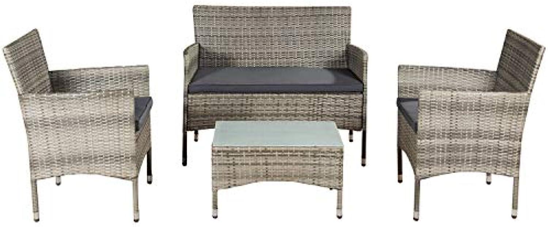 ArtLife Polyrattan Sitzgruppe Fort Myers grau-meliert  dunkelgraue Bezüge  4 Personen  Lounge Rattanoptik Gartenmbel-Set für Balkon oder Terrasse