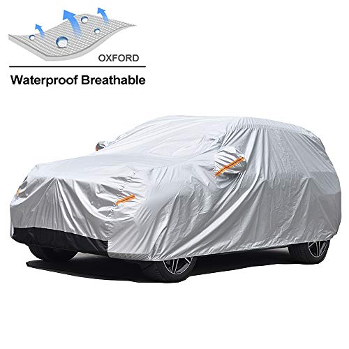 GUNHYI Oxford Car Covers Waterproof Windproof All Weather for Automobile, Snow Sun Rain UV Protective Outdoor, Fit Hatchback (Length 165-178 Inch)