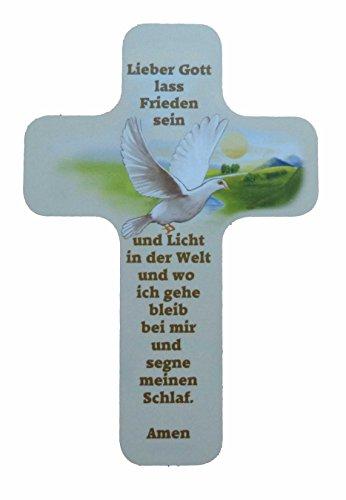 """Taufgeschenke - Kreuze: Taufkreuz für Kinder und Erwachsene zum Aufhängen. Motiv Taube und Spruch / Text """"Lieber Gott lass Frieden sein und Licht in der Welt und wo ich gehe bleib bei mir und segne meinen Schlaf. Amen"""" aus unserer Reihe Kinderkreuze"""