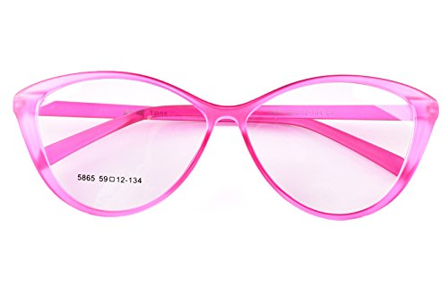 Agstum Ladies Womens Cat eye TR90 Glasses Frames Optical Eyeglasses 59mm (Pink, 59mm)