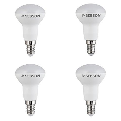 SEBSON® Ra 95 Serie + flimmerfrei, E14 R50 LED Lampe 6W warmweiß, ersetzt 35W, 380lm, 2700K, 230V LED Leuchtmittel, 4er Pack