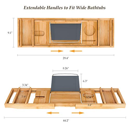 Domax Bathtub Caddy Tray Expandable Bamboo Tub Tray for Luxury Bath with Book Holder and Free Soap Dish