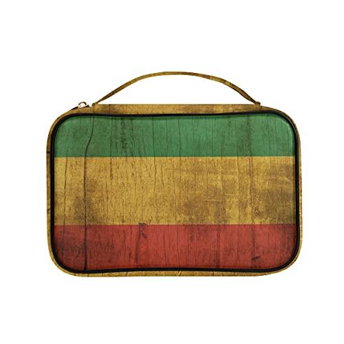 Bolsa organizadora de joyas de madera de la bandera de Rasta para viajes, cajas de almacenamiento de cuero sintético para collares, pendientes, anillos, pulsera
