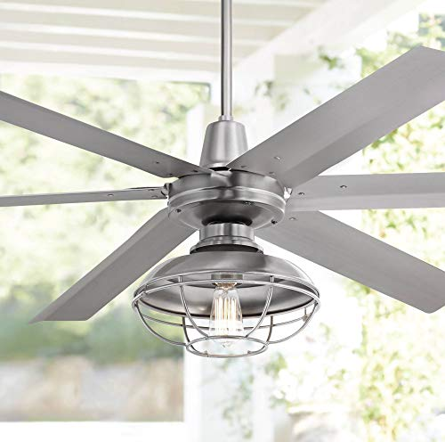 60' Turbina Max Industrial Rustic Large Outdoor Ceiling Fan with Light LED Remote Control...