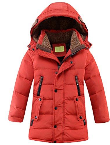 Vogstyle Bambini Giubbotto Piumino Invernale Ragazzi Ragazze Leggero Impermeabile Cappotto con Cappuccio Rosso 8-9 Anni/Altezza 130-140