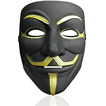 V for Vendetta Mask Anonymous Hacker Mask Halloween Costume Cosplay Anonymous Mask  black