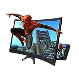 12' Lupa de Pantalla, amplificador de pantalla curva 3D plegable soporte de teléfono compatible con todos los smartphones para leer y ver la televisión