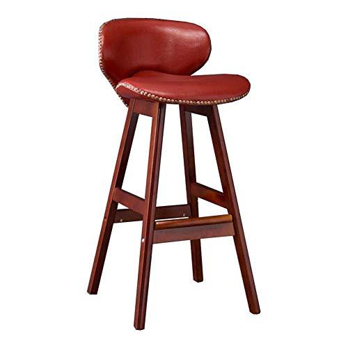 JIEER-C stoelen voor de tijd Libero barkruk barkruk van henneptouw, kussen van polyurethaan, rugleuning, voor keuken, pub, koffie, van robuust hout Rood