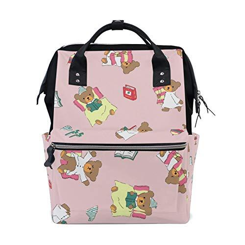 MERRYSUGAR Diaper Bag Backpack Cartoon Bear Pink Baby Bag School Backpack Mommy Bag Large Multifunction Travel Bag