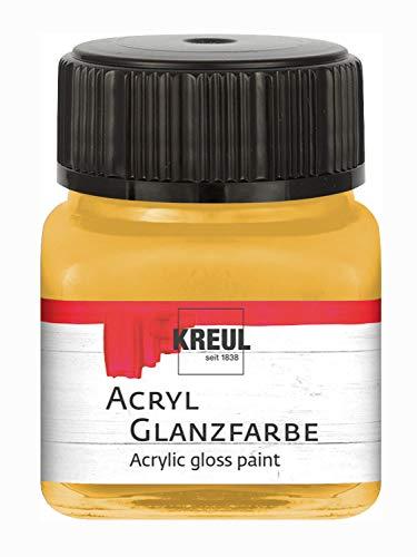 Kreul Peinture Acrylique brillante-20 ML-en Verre doré Brillant et Lisse-À Base d'eau-Résistant à la salive-Séchage Rapide et Opaque, Or, 20 ml