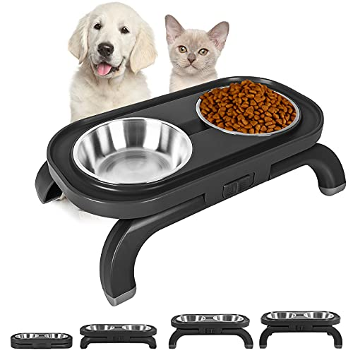 Cat Bowls,15°Tilted Cat Dishes with Adjustable Angle Stand Non-Slip&Non-Spill Foldable Pet Feeding Bowl for Cats and Small Dogs (Black)