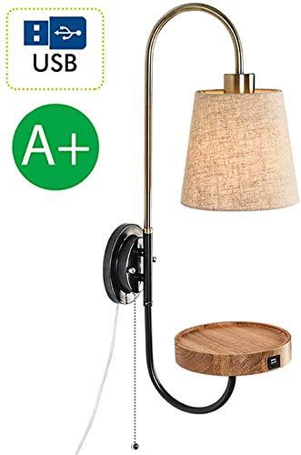 Luces de pared / Pared rústica luces del dormitorio con conmutador de extracción, de noche Lámpara de pared luces de lectura con puerto USB, cable de 1,5 m / enchufe, Tela Lampeshade, E27 zócalo, for