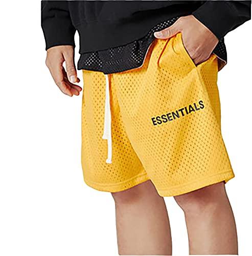 IFYG Verano de los hombres de doble línea alta calle deportes pantalones cortos casual marca de moda fitness flojo cinco puntos pantalones L amarillo