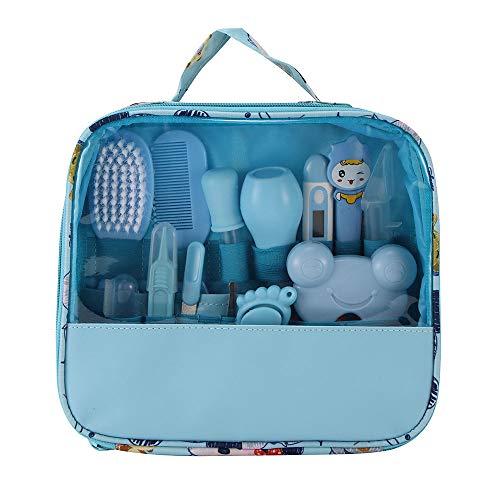 OurLeeme Baby-Gesundheitswesen-Werkzeug, 13-teiliges wesentliches Gesundheitswesen-Krankenschwester-Werkzeug-Nagel-Haarscheren-Haarschnitt-Pflegeset Heimgebrauch mit Tragetasche (Blau)
