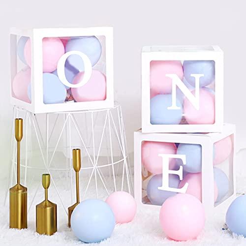 ariel-gxr weiße transparente Ballon-Boxen, quadratische Babyparty-Boxen, Party-Dekorationen, mit Buchstaben für den ersten Geburtstag des Babys, als Hintergrunddekoration, DIY-Design-Kombination