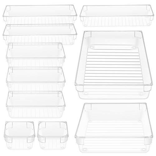 Organizadores Transparentes para Cajones, 10pcs Cajas Plásticas de Almacenamiento Apilables,Almacenamiento para Cajones, Maquillaje Papelería Cubiertos para Dormitorio Cuarto de Baño Cocina Oficina