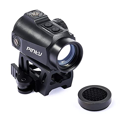 Pinty 1x25 3MOA Red Green Dot Sight with Riser Mount for Weaver or Picatinny Rails, Parallax Free Tactical Reflex Sight with Multicoated Lenses for Rifles Pistols Airsoft Guns More, Battery Included