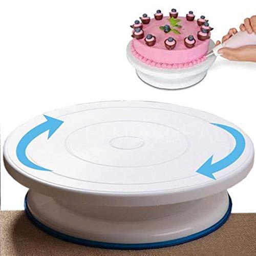 OUTLETISSIMO® ALZA Torta Bianco Girevole Piatto Rotante Vassoio Cake Design Decorazioni Torte 28CM Diametro