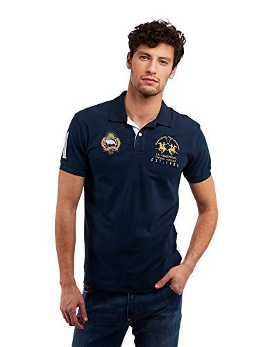 La Martina Herren Pmp319 Poloshirt, Blau (Navy 07017), Large