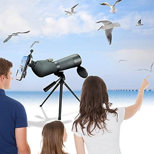 KOSIEJINN 20-75x70 HD Telescopio Terrestre con Trípode Telescopio de Zoom Antivaho Impermeable, Bolsa de Transporte y Adaptador para teléfono Inteligente, para Caza, observación de Aves