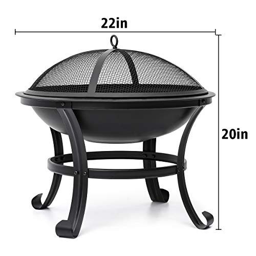 KINGSO Outdoor Wood Burning Fire Pit with BBQ Grill, Mesh Spark Screen Cover, Fire Poker