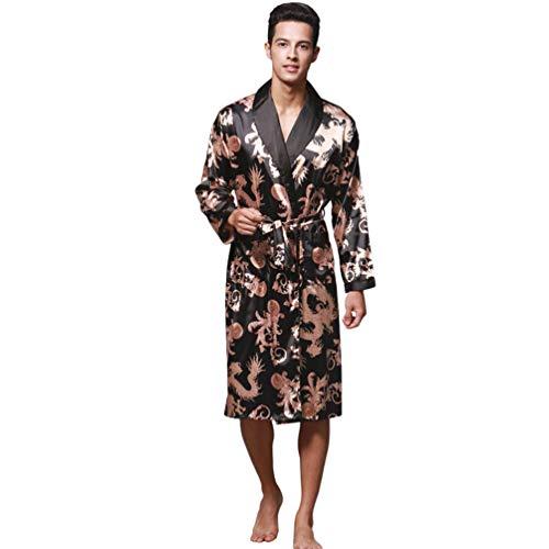 WanYangg Albornoz Kimonos Pijama para Hombre Largo Camisón Robe Bata Ropa De Dormir Satín Bata De Baño Dragón De Impresión Seda De Imitación Negro L