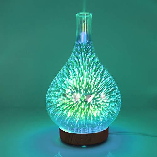 Househome Glas-Diffusor für ätherisches Öl, 100 ml, zur Aromatherapie, Ultraschall-Luftbefeuchter mit 3D-Aroma, Nachtlicht