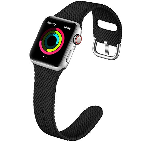 GEAK Compatible with Apple Watch Band 38mm 40mm Women Men Series 6, Comfortable Flexible Textured Weave Pattern Sport Wristband for Apple Watch SE Series 6 5 4 3 2 1, Black