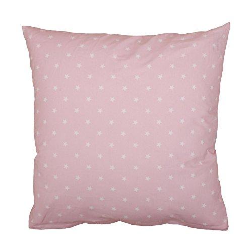 Hans-Textil-Shop Kissenbezug 40x40 cm Sterne 10 mm Weiß auf Rosa - Für Kinder, Deko, Sofa, Kopfkissen als Kissen und Kissenhülle