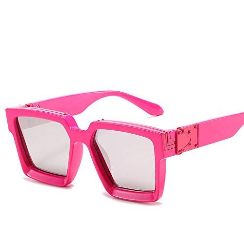 hqpaper Gafas de sol con montura cuadrada europea y americana, gafas de sol de moda para mujer, tabletas de mercurio con montura roja rosa