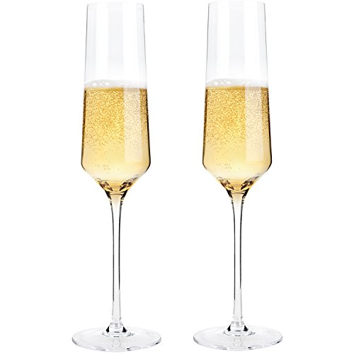 "KOIOS Hand Blown Crystal Champagne Flutes - Bella Vino Champagne Glasses Made from 100% Lead Free Premium Crystal Glass,Perfect for Any Occasion,Great Gift, 10"", 7 Oz, Set of 2, Clear (Elegant)"