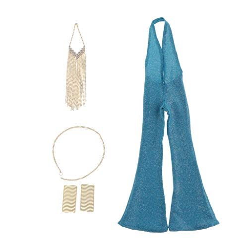 ZSMD 1/6 Scale Female Figure Doll Clothes, Handmade Costume, Coveralls Retro Jumpsuit + Necklace + Bracelet Chain Jewelry Sets Outfit for 12
