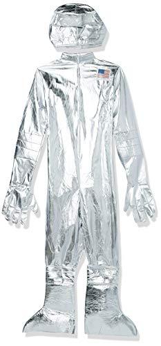Smiffys-30821M Disfraz de Astronauta, con Enterizo, Capucha, Guantes y cubrebotas, Color Plata, M-Tamaño 38