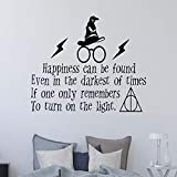 YHZSML Potter Decalcomania da Muro Quota La Felicità può Essere trovata Potter Magical Flash Occhiali Adesivo da Parete in Vinile Adesivo da Parete 57x37cm