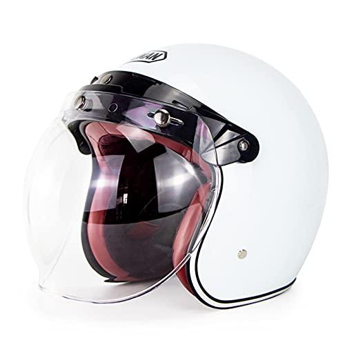 TR-yisheng 3/4 Casco de Bicicleta eléctrica para Motocicleta Retro para Hombres y...