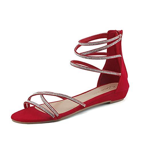 DREAM PAIRS Women's Weitz Red Ankle Strap Rhinestones Low Wedge Sandals - 10 M US