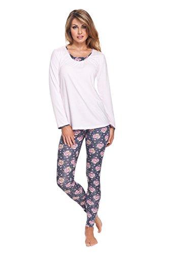 e.FEMME Damen Schlafnzug Lisa 262, aus 96% Viskose + 4% Elasthan, mit Langarm und bedruckten Leggins-Hosen, in Farbe Rose, in Größe 42