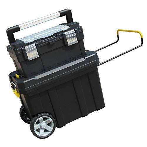Cajas de herramientas Caja de almacenamiento con ruedas portátil de plástico Manija de la caja de herramientas y Bandeja superior extraíble Administrador de la caja de herramientas del garaje de almac
