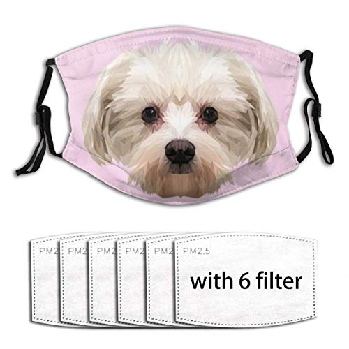 Unisex Windproof and Dustproof Mouth Mask with Adjustable Elastic Strap Face Covering with 6 FiltersIllustration Maltese Dog Animal Low Poly