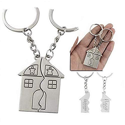 RecontraMago portachiavi casa personalizatto due incisi con i tuoi nomi argento