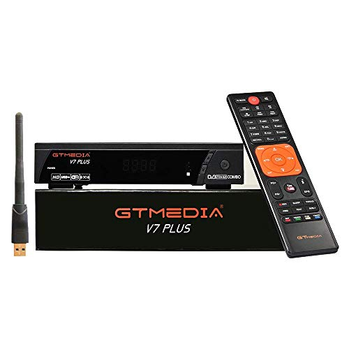 GTMEDIA V7 Plus DVB S2/T2 Satellite TV Receiver FTA Full HD Built-in Galaxy 19 Digital TV Box Decoder HEVC Support 1080P H.265 PVR CCcam with USB WiFi Antenna