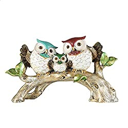 YINASI Family Owl Decorative Statue, Enchanted Forest Owl Duo Perched on a Branch Table Top Statues and Figurines Desk Decoration for Office Home Decor