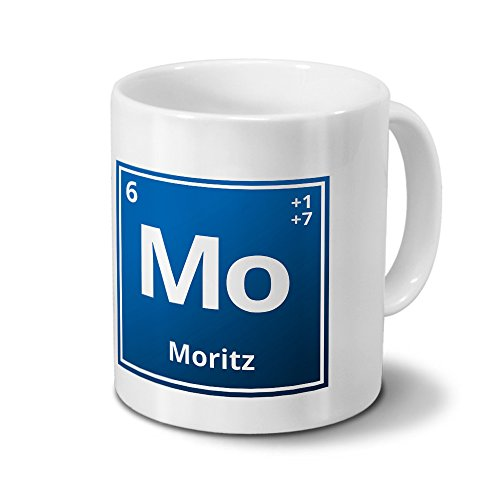 Tasse mit Namen Moritz als Element-Symbol des Perioden Systems - blau - Namenstasse, Kaffeebecher, Mug, Becher, Kaffeetasse