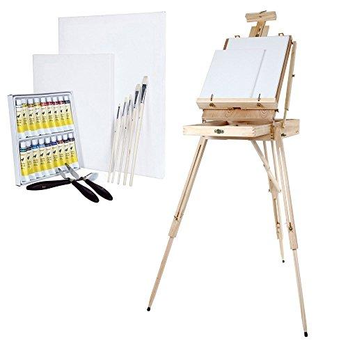 Artina Set di Pittura con Cassetta cavalletto Madrid Colori acrilici 2 Tele Bianche spatole 1 Kit pennelli Legno di Pino