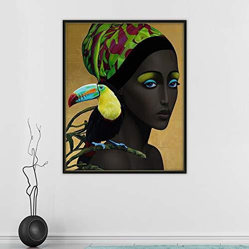 GJQFJBS Abstrakte Mädchen Figur Haar Blume Vogel Wandkunst Leinwand Druck Bild Wohnzimmer Wohnkultur A5 70X100cm